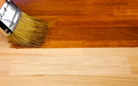 Wood texture and paintbrush / housework background